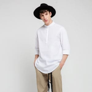 Shirt with half placket