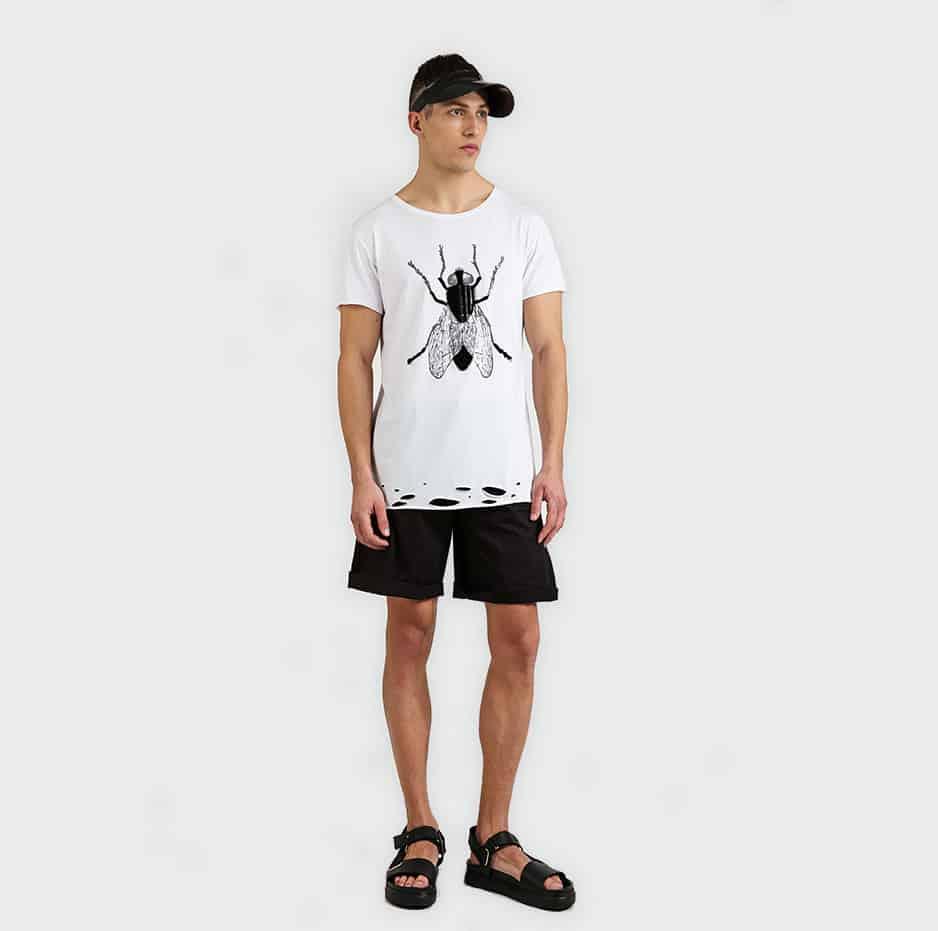 Printed t-shirt with lazer cuts on hem