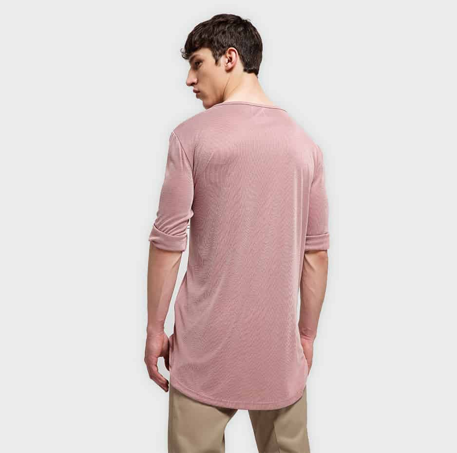 T-shirt with half placket and 3/4 long sleeve