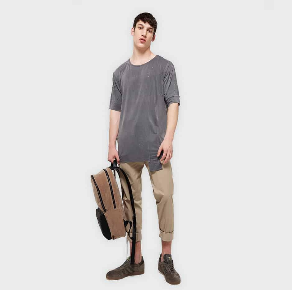 Tshirt with lazer cuts-grey