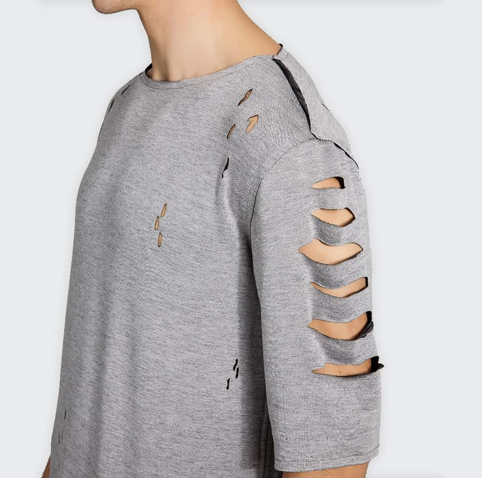 Tshirt with lazer cuts on shoulders