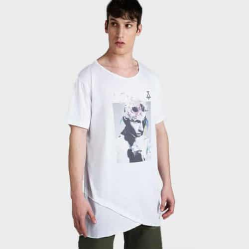 Asymmetrical printed t-shirt