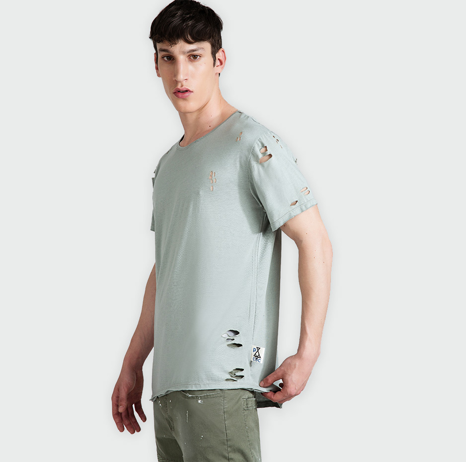 Asymmetrical t-shirt with lazer cuts