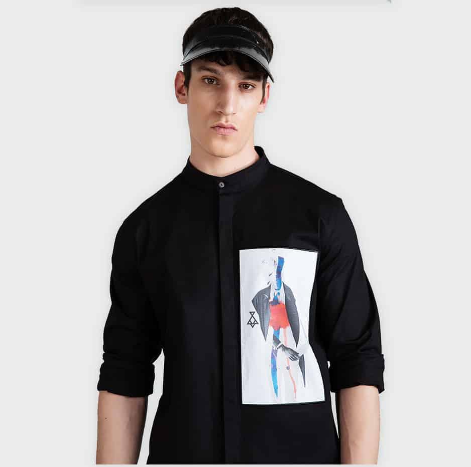 Asymmetrical printed shirt