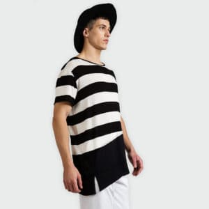 T-shirt with stripes and P/COC embroidery