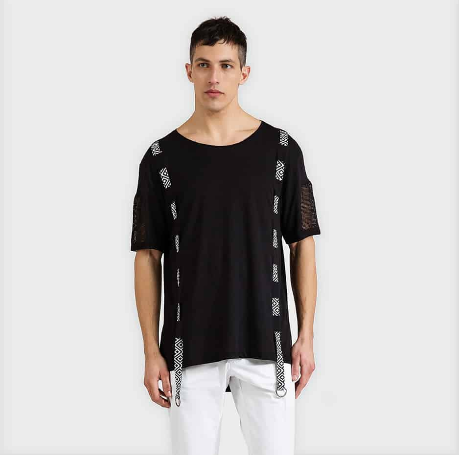 T-shirt with hidden strap and net sleeves-white