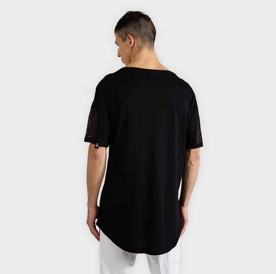 T-shirt with hidden strap and net sleeves