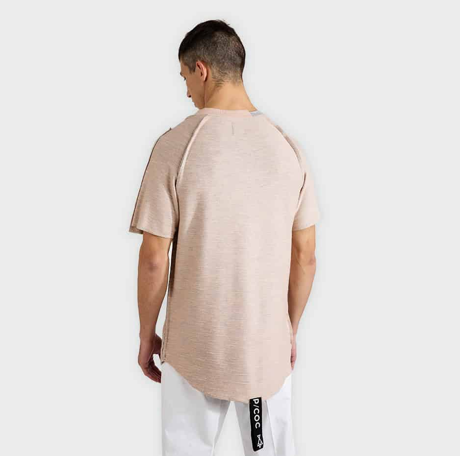 T-shirt with neck tape on back