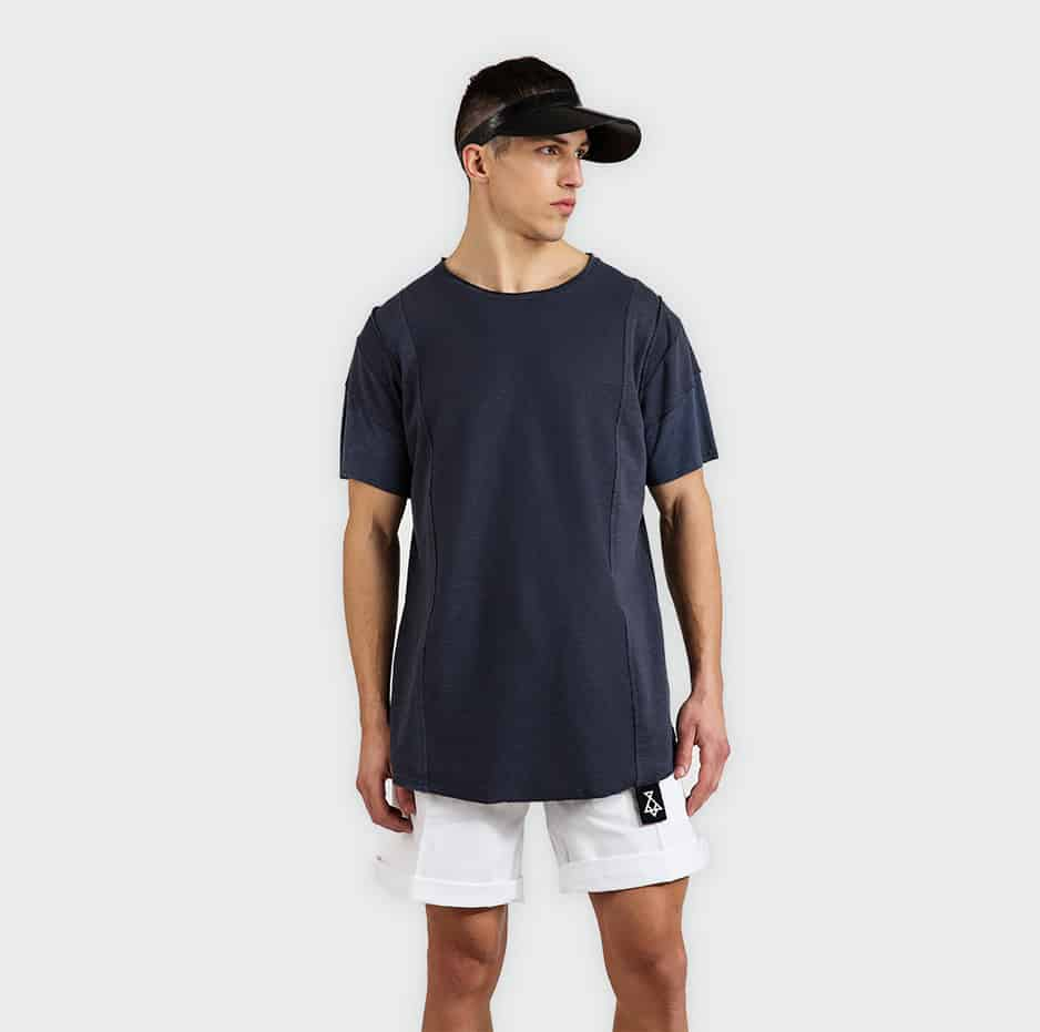 T-shirt with neck tape in front
