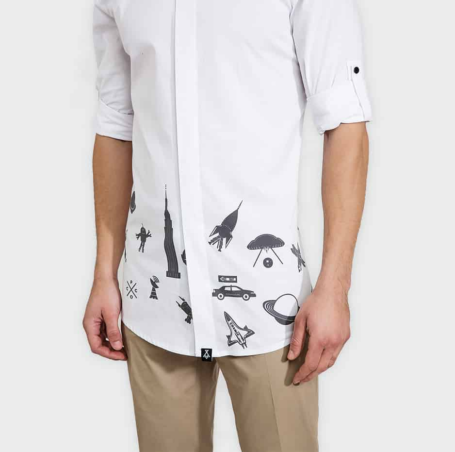 Shirt with printing details on hem