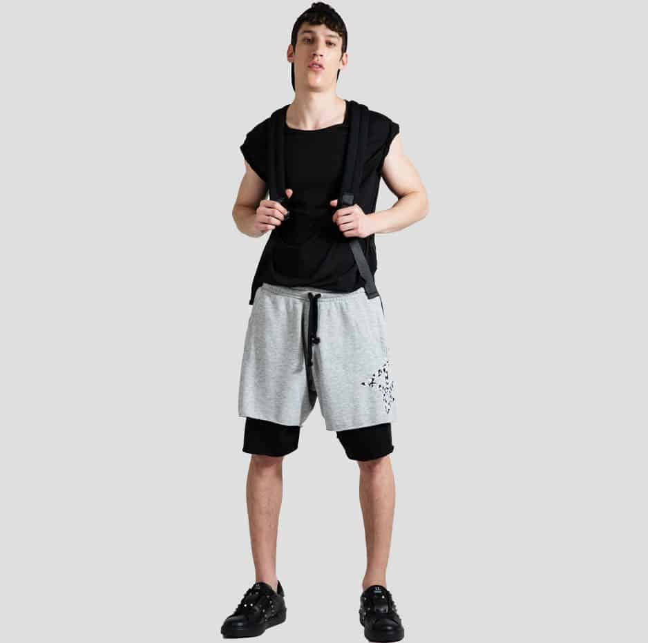 Double hem shorts with P/COC logo sideways