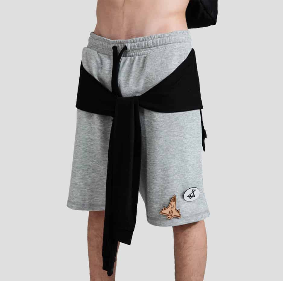 Shorts with wooden accessories