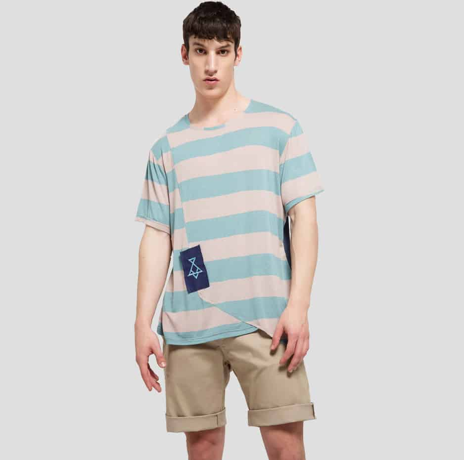 Double fabric t-shirt with stripes
