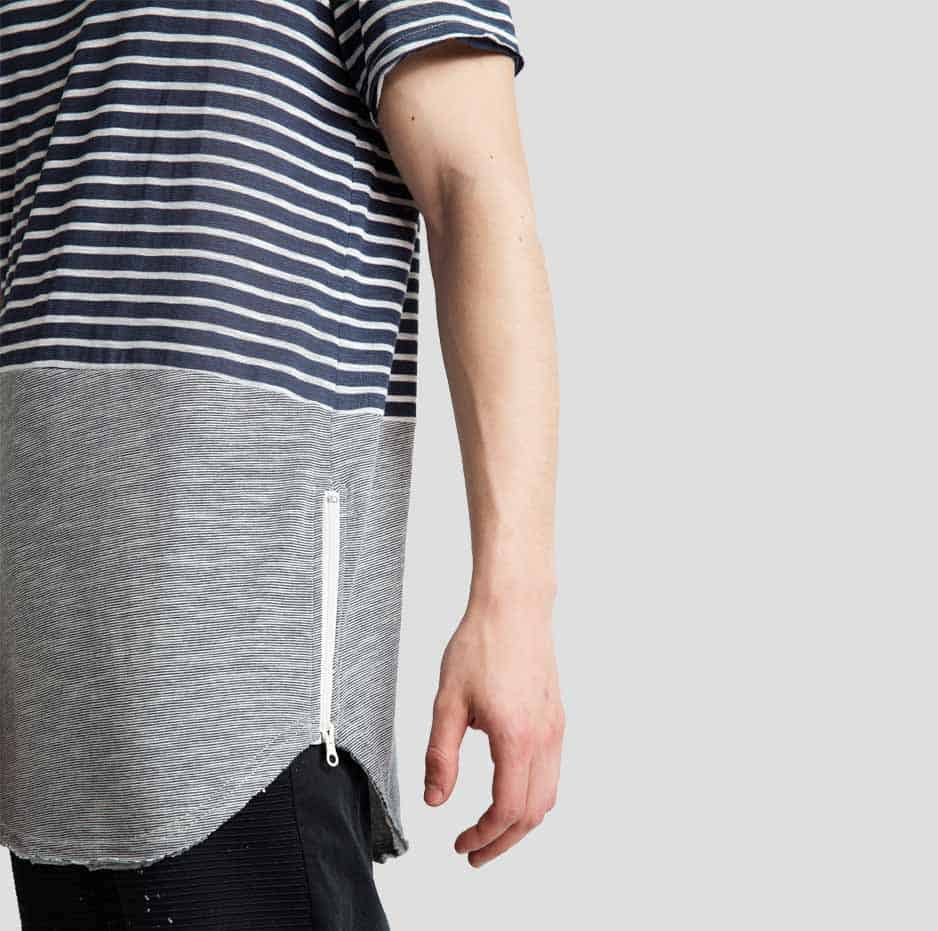 Zipped t-shirt with stripes