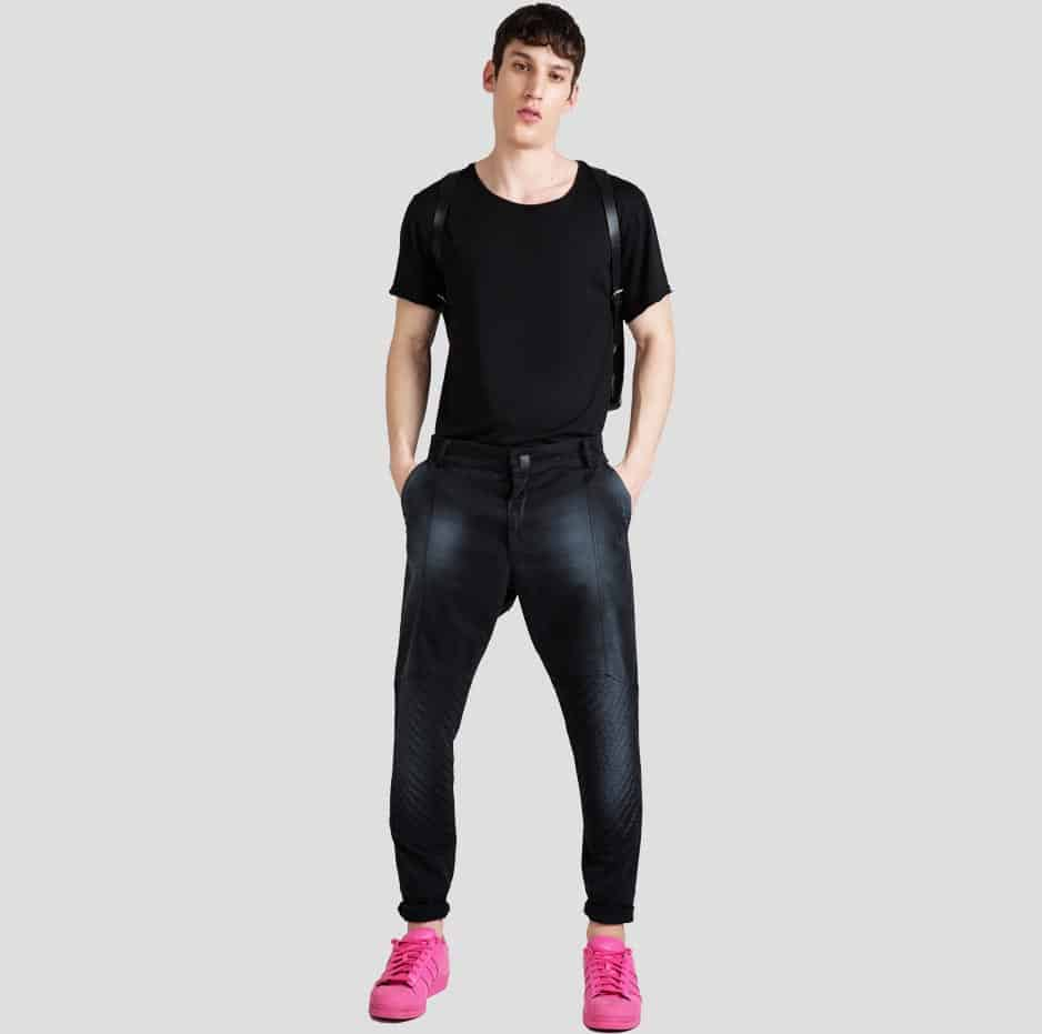 Black biker pleated pants