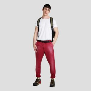 Red biker pleated pants
