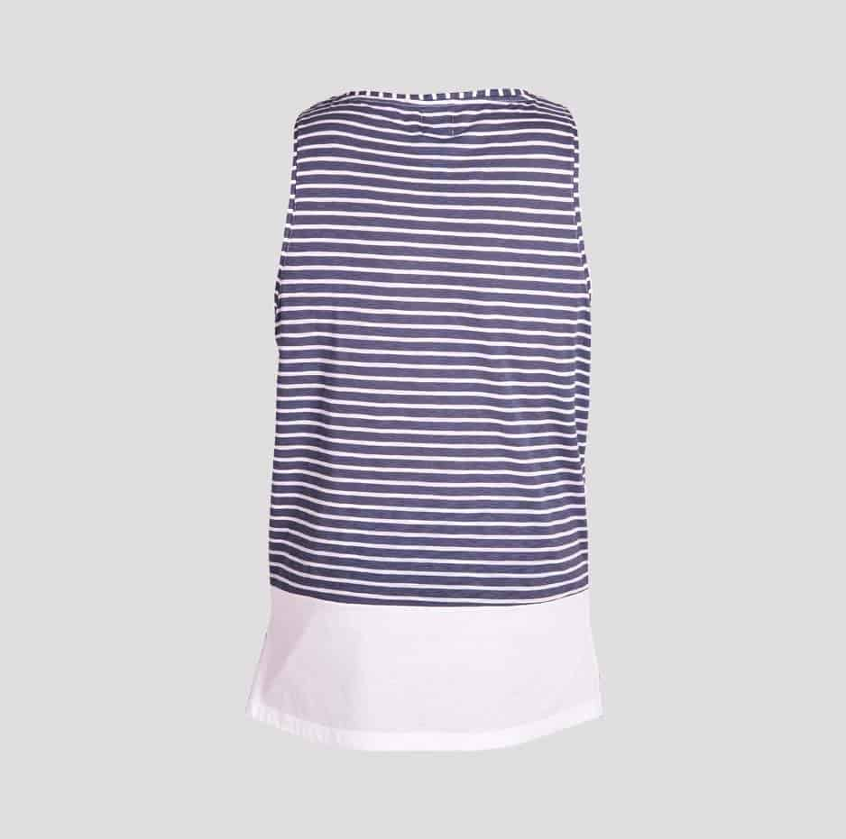 Blue double fabric sleeveless t-shirt with stripes