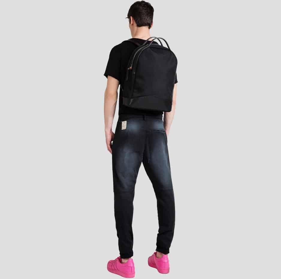 Black biker pleated pants