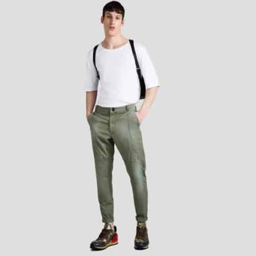 Green biker pleated pants