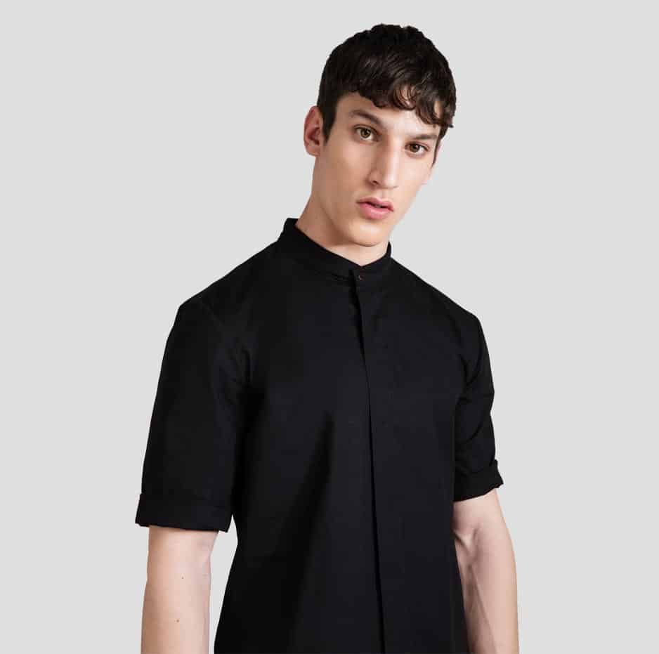 Mao shirt with short sleeves