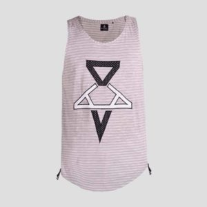Sleeveless t-shirt with P/COC tape embroidery in front