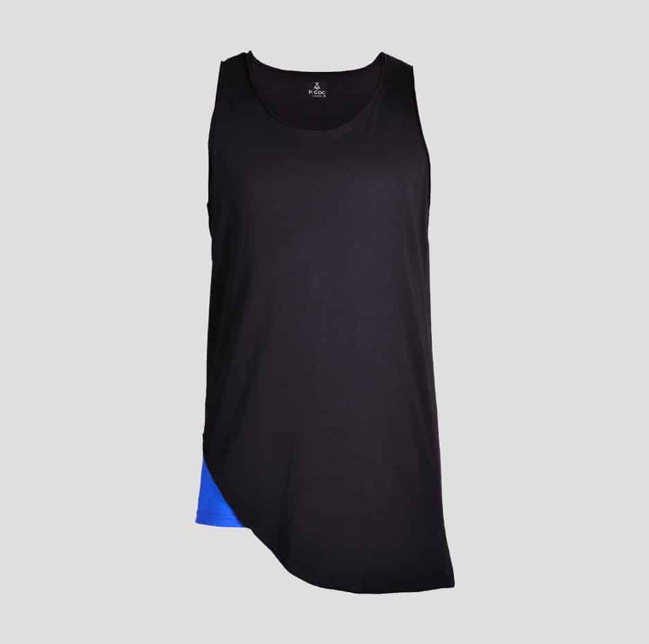 Black double fabric sleeveless t-shirt