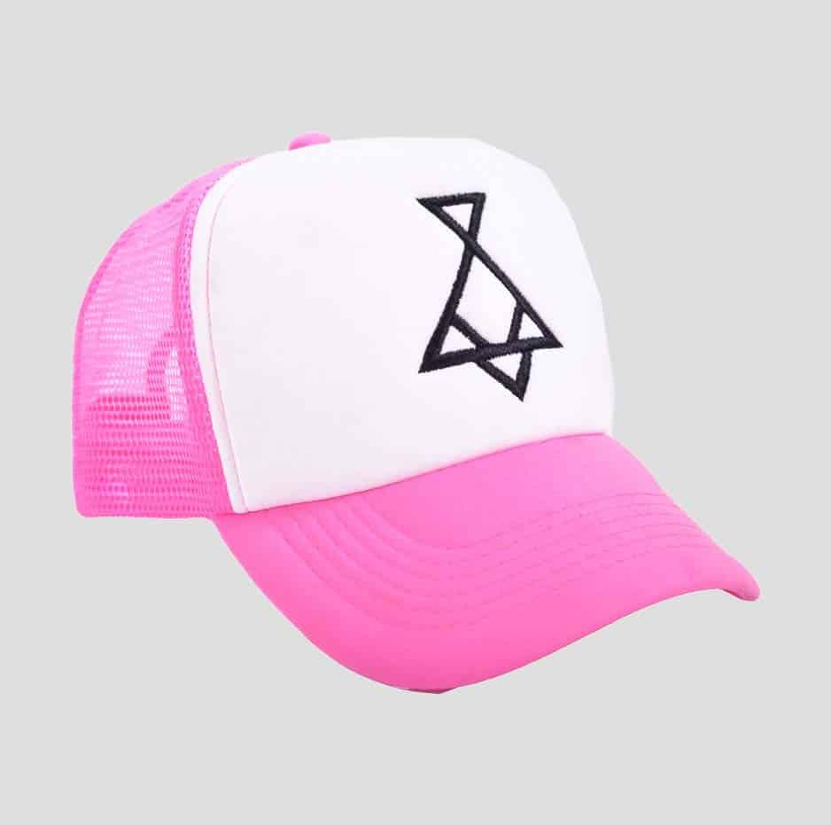pink/white hat