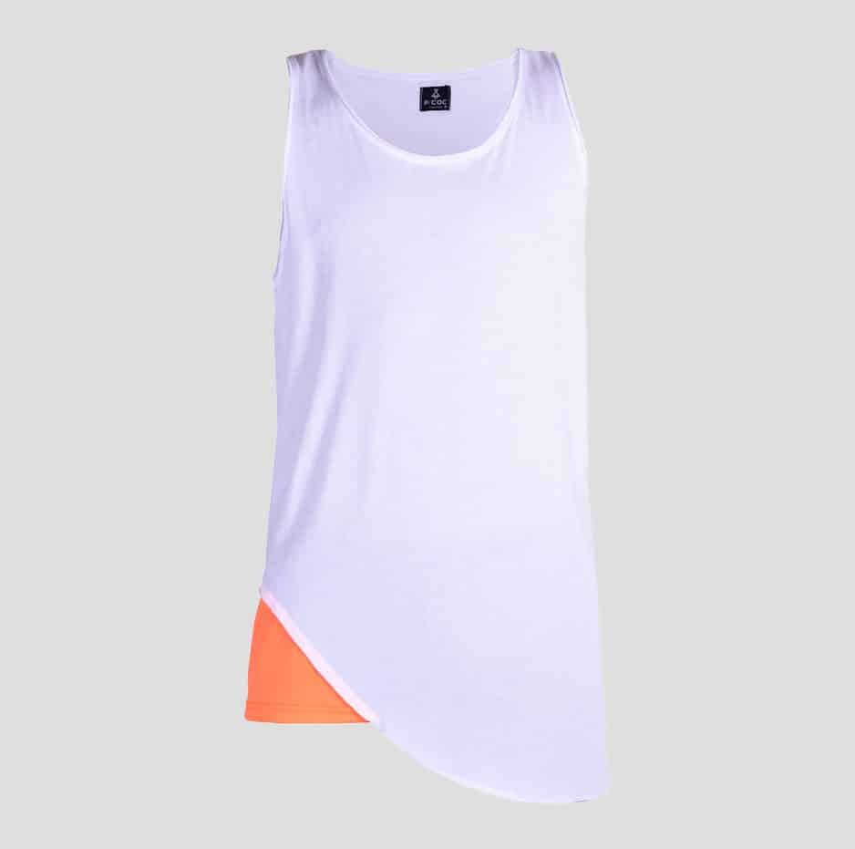 White double fabric sleeveless t-shirt