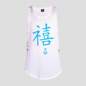 Sleeveless t-shirt with blue fluo TOKYO printing