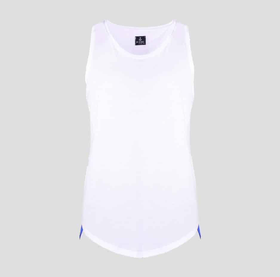 White sleeveless t-shirt with P/COC tape sideways