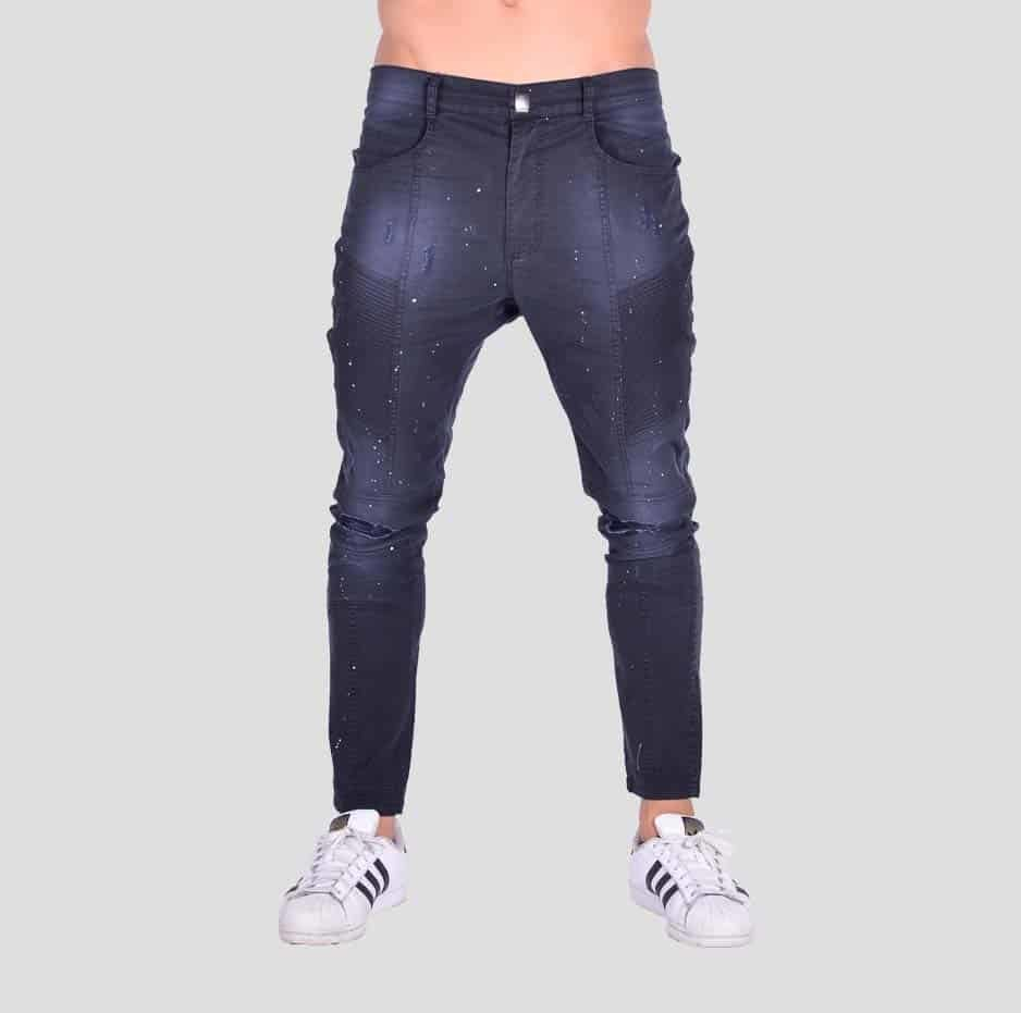 Black pleated pants with paint splashes