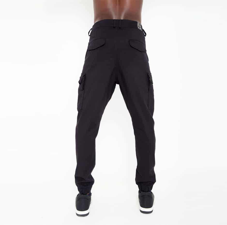 Black biker pants with large pockets_back