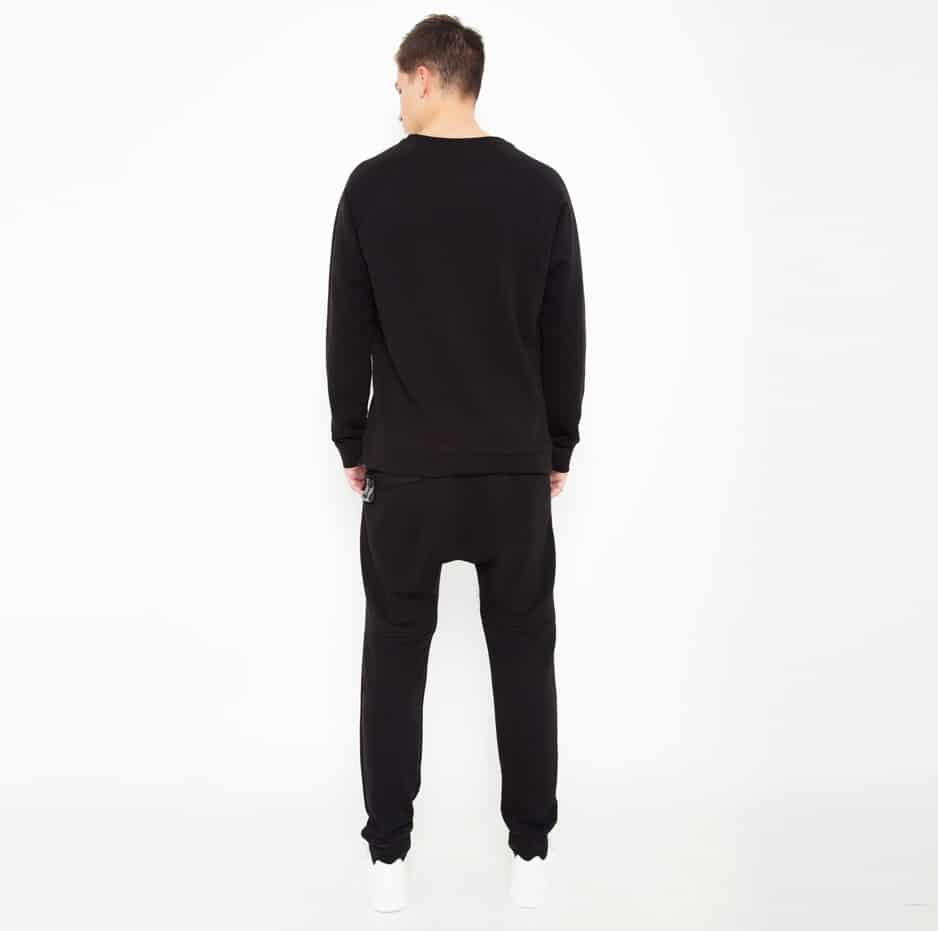 Black cotton sweater with PCOC embroidery_back
