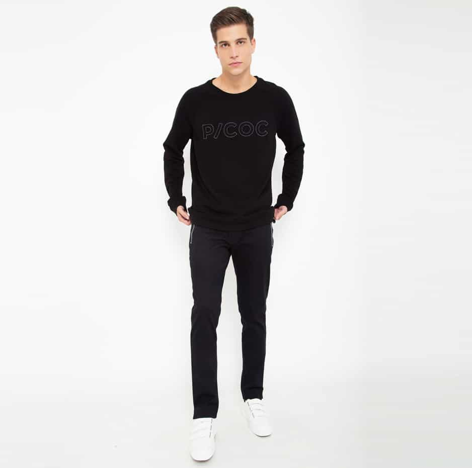 Black cotton sweater with PCOC embroidery_front