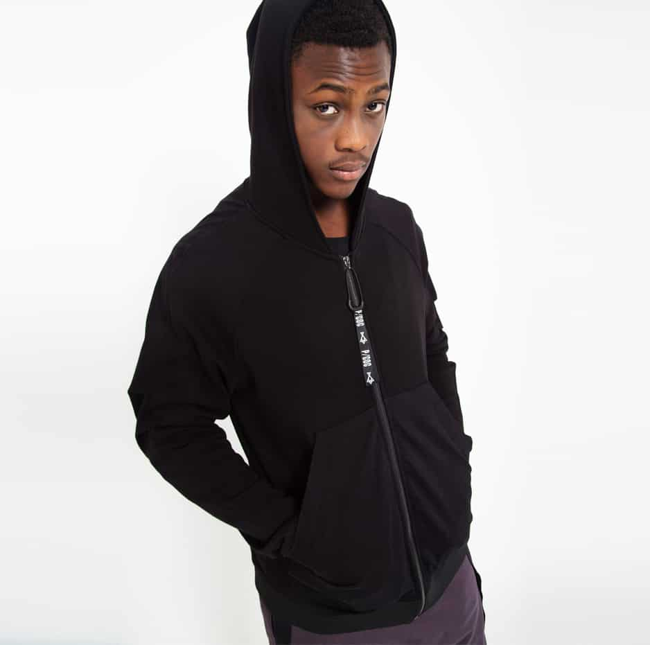 Black hooded jacket with side pockets_thumbnail