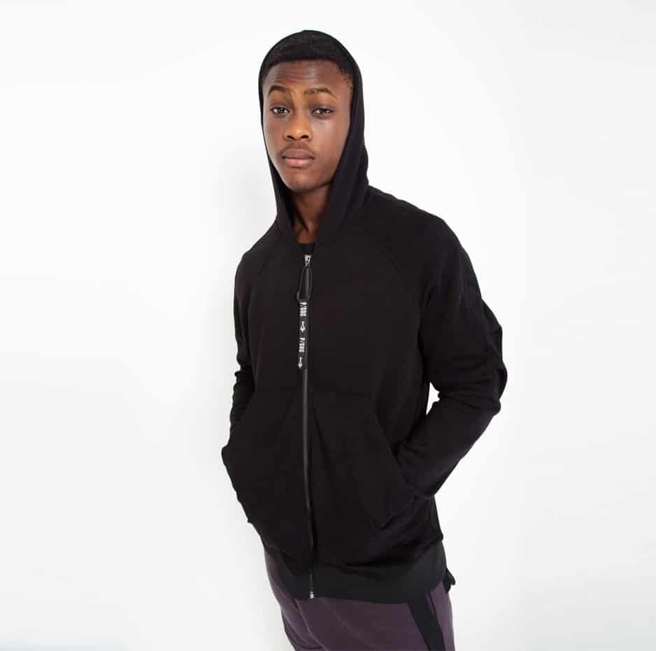 Black hooded jacket with side pockets_zoom_front