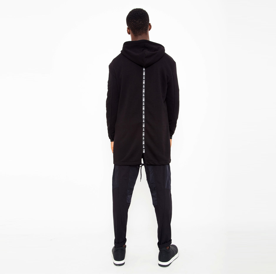 Black jacket with contrasting hood_back