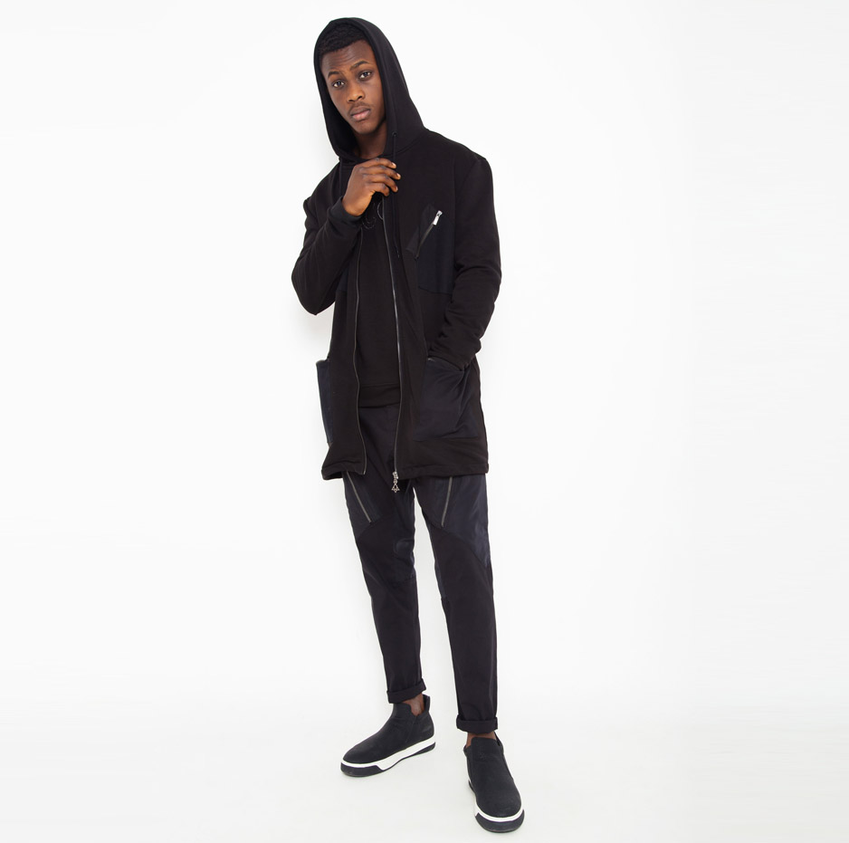 Black jacket with contrasting hood_total_front