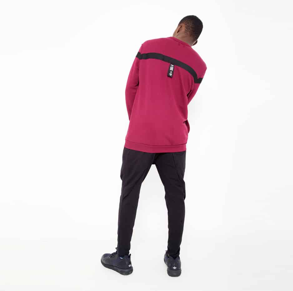 Red hoodie with black line_back