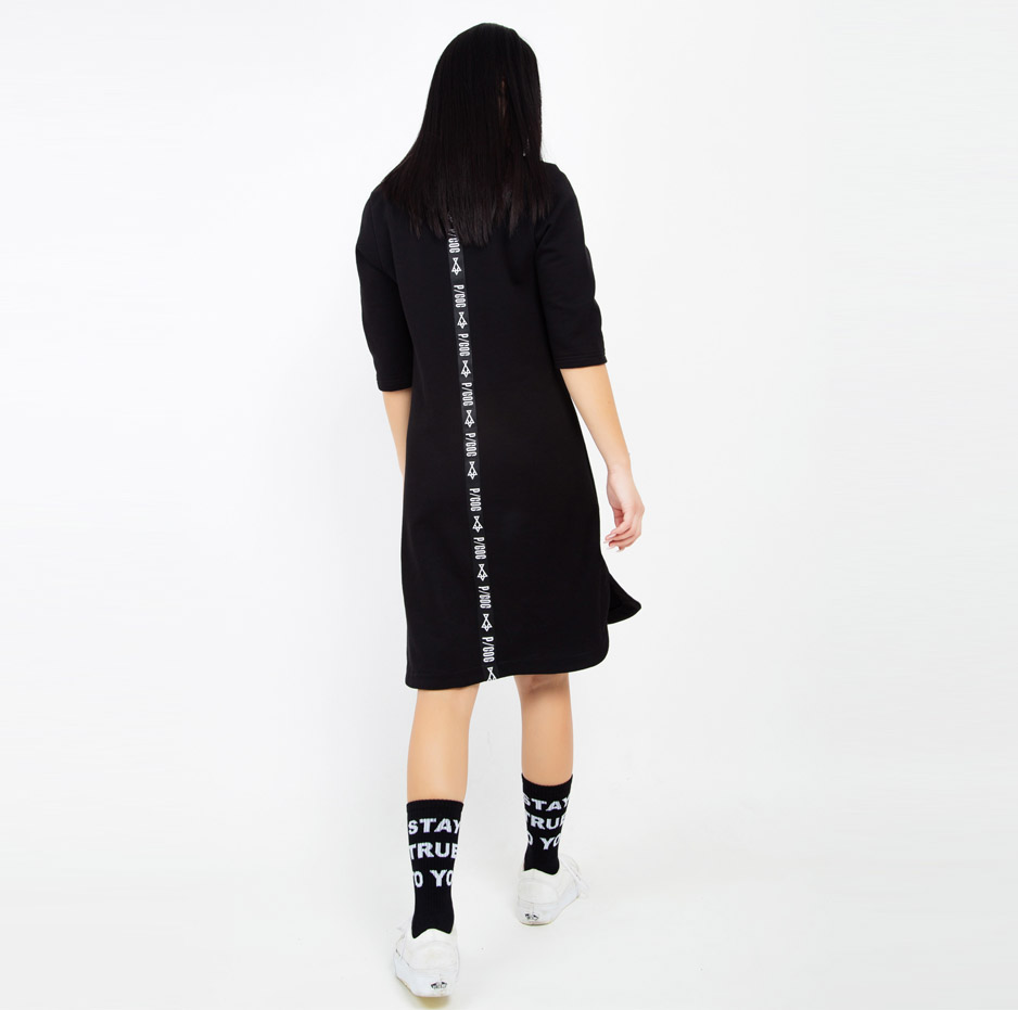 Black dress with PCOC tape on back_back