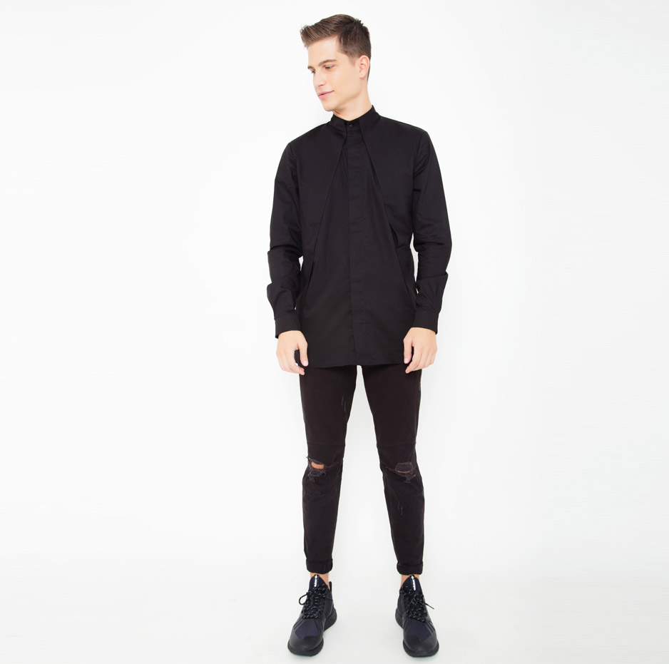 Black mao shirt with front pleats_front_total