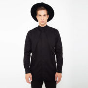 Black mao shirt with front pleats_thumbnail