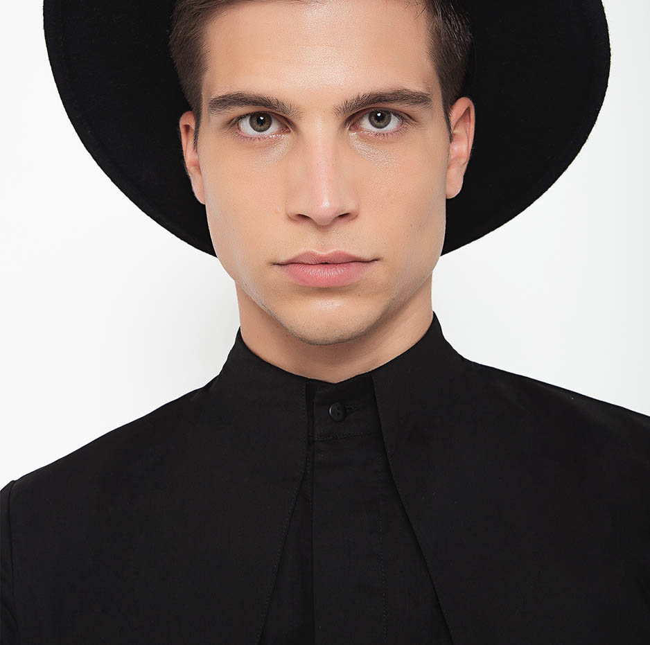 Black mao shirt with front pleats_zoom