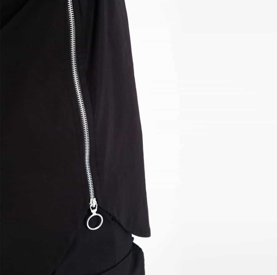 Black shirt with side zip_side