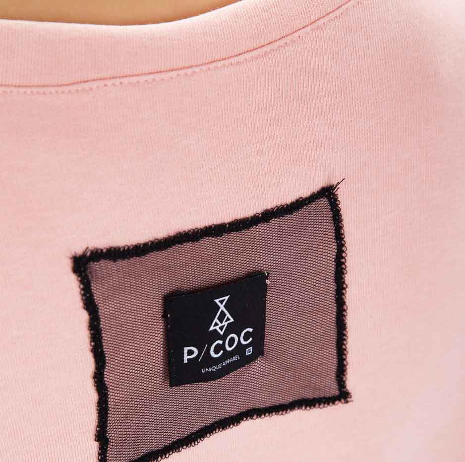 Pink dress with details on sleeves_back_zoom