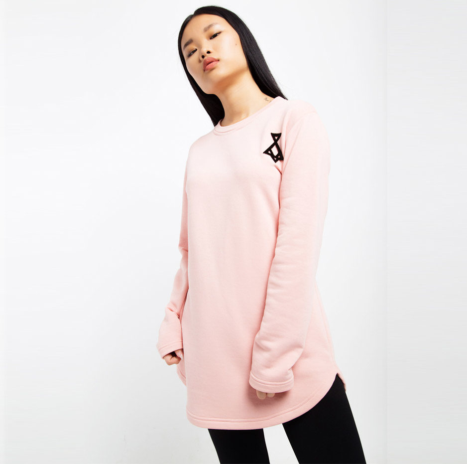 Pink sweater with embroidery_front