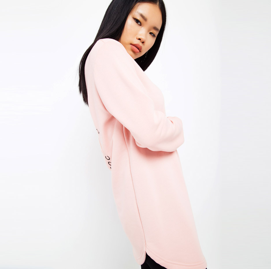 Pink sweater with embroidery_side
