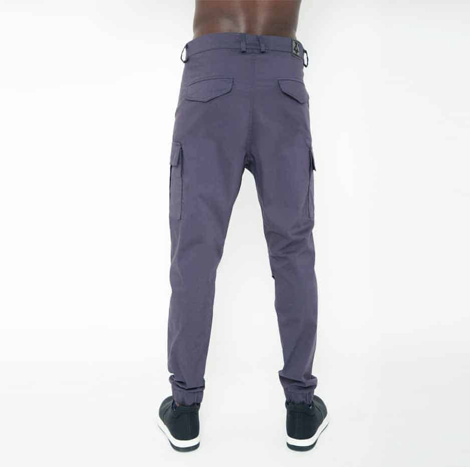 Grey biker pants with large pockets_back