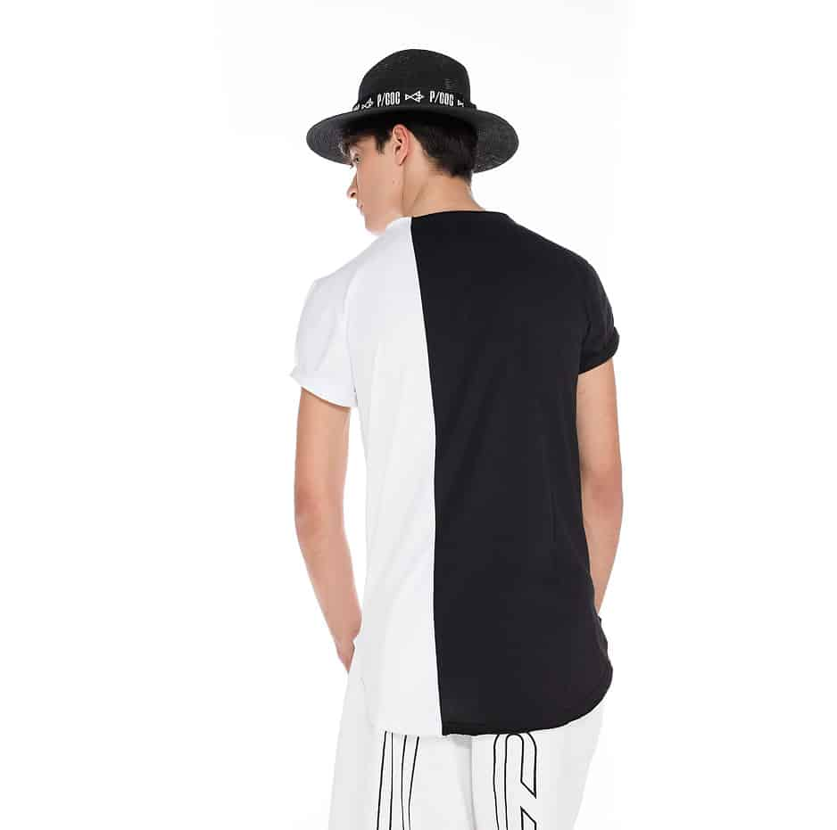 Black & white t-shirt with P/COC tape in the shape of pocket