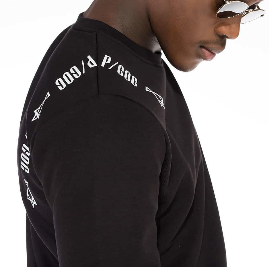 Spring hoodie wth P/COC printing on the shoulders